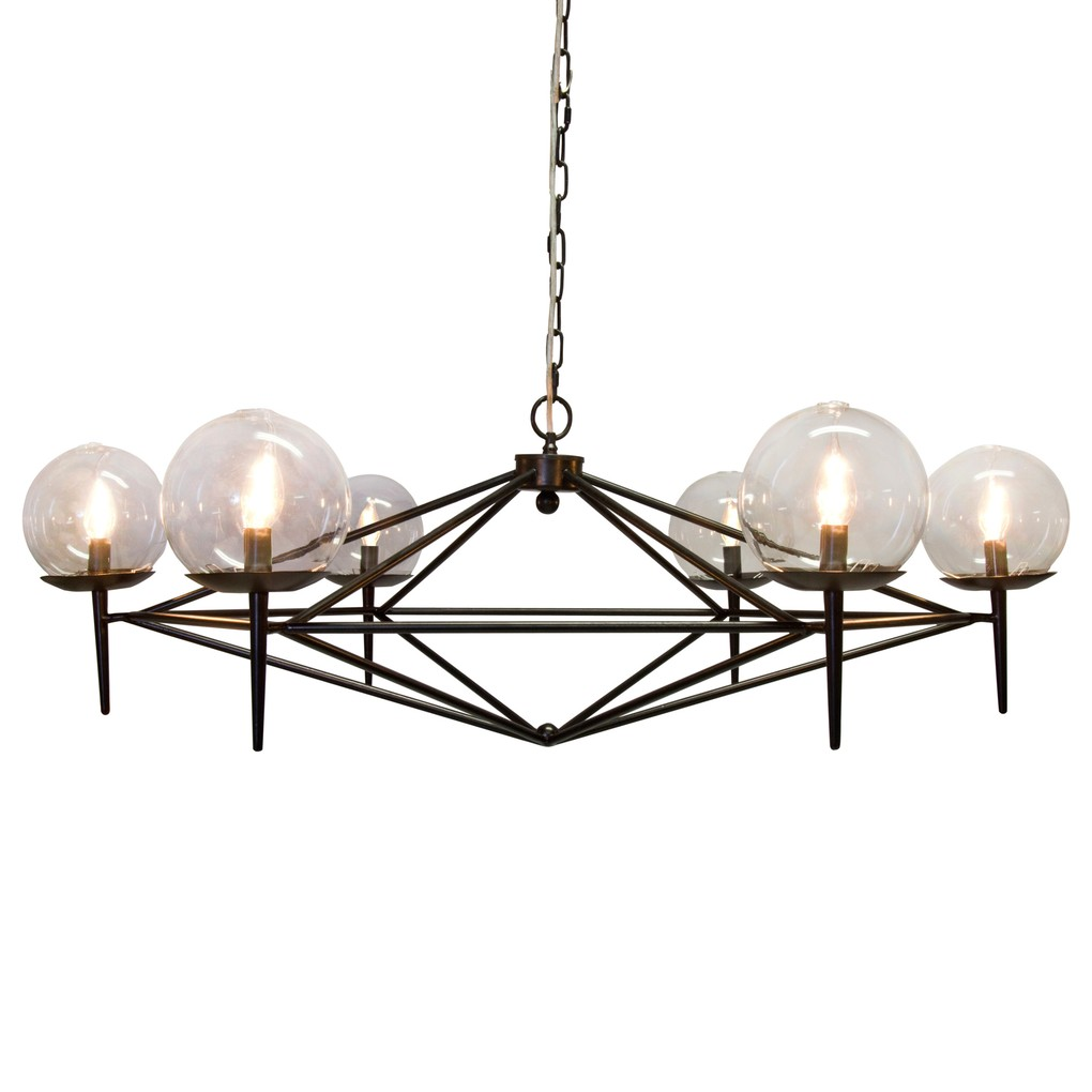Black Powdercoated Chandelier with Glass Globes | Worlds Away