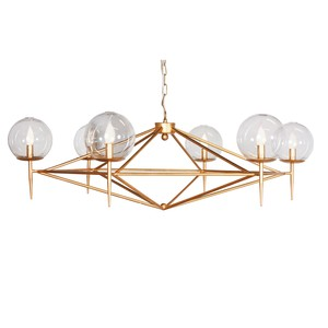 Gold Leaf Chandelier with Glass Globes