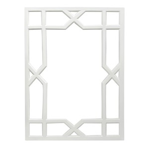 White Lacquer Treills Mirror | Worlds Away