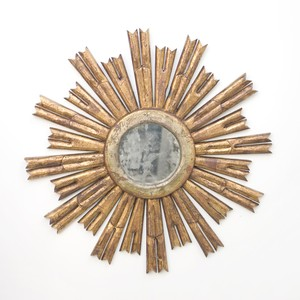 Mascluine Starburst Gold Leafed Antique Mirror | Worlds Away