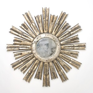 Masculine Starburst Silver Leafed AntiqueMirror | Worlds Away