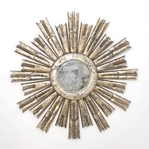Masculine Starburst Silver Leafed AntiqueMirror | Worlds Away