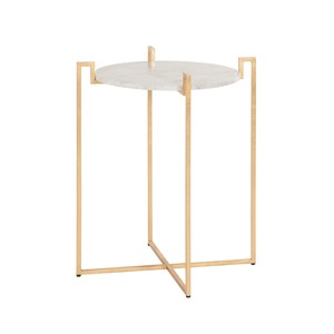 Gold Leaf Side Table with Greek Key Detail