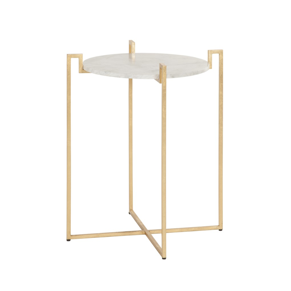 Gold Leaf Side Table with Greek Key Detail | Worlds Away