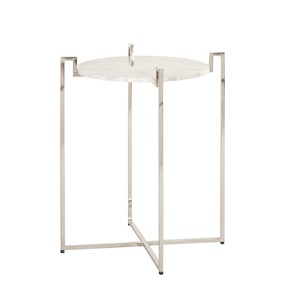 Nickel Side Table with WHite Marble Top