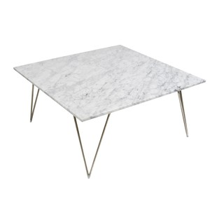 Hairpin Leg CoffeeTable Silver Leafed White Marble