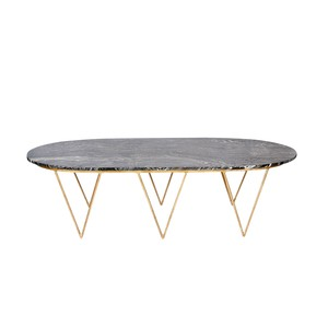 Surf Gold Leaf Oval  Coffee Table W. Black Marble