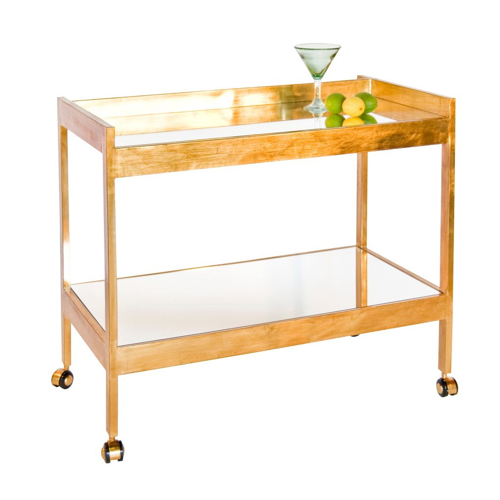 Gold Leaf and Mirrored Bar Cart With Gold Casters | Worlds Away