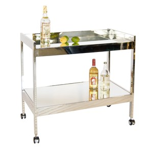Nickel Plated Bar Cart with Silver Casters | Worlds Away