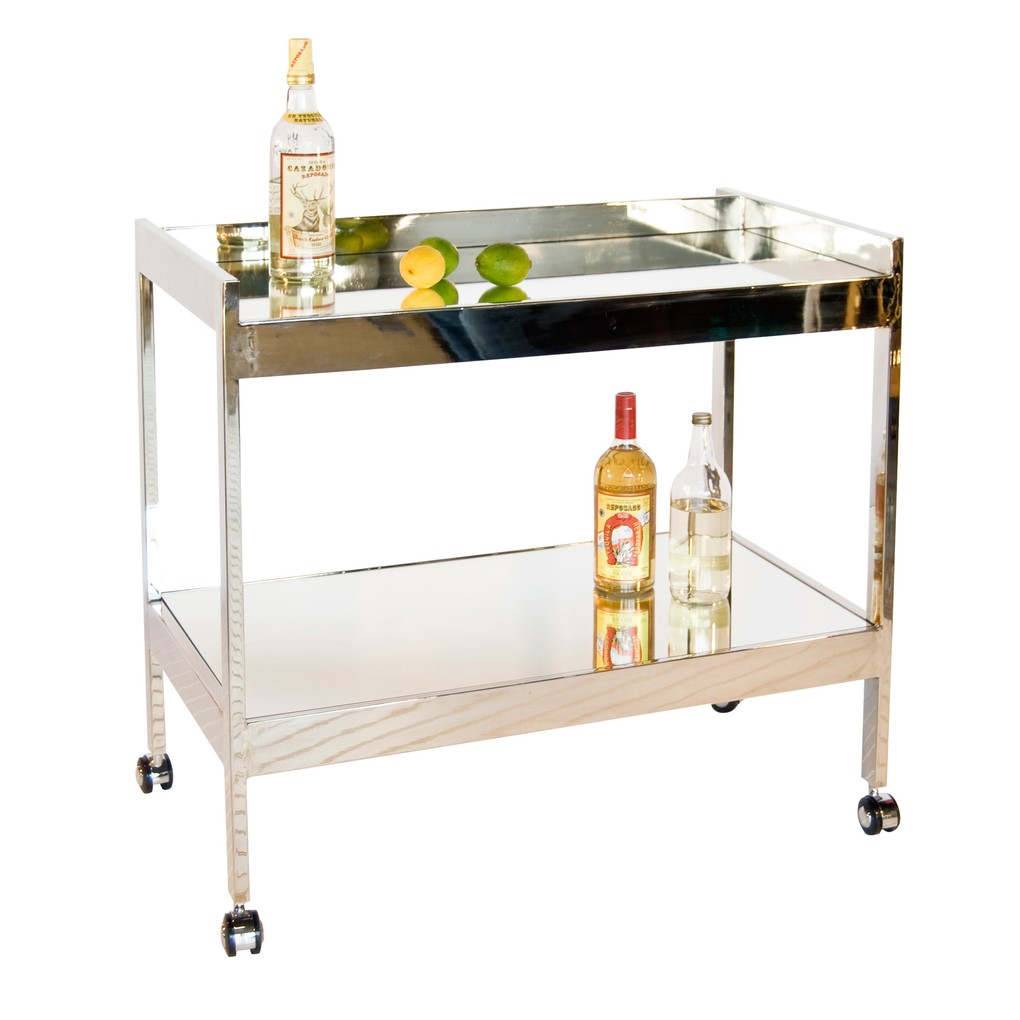 Nickel Plated Bar Cart w. Silver Casters & Mirror | Worlds Away