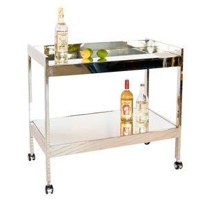 Nickel Plated Bar Cart w. Silver Casters & Mirror