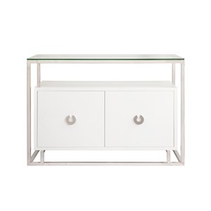 White Lacquer Cabinet with Nickel Hardware