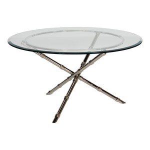 """Nickel Plated 42\"""" Bamboo Cocktail Table"""
