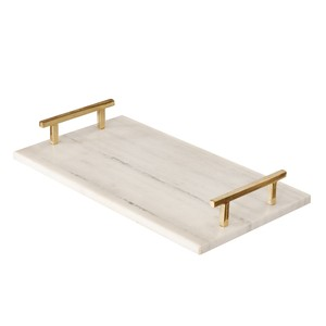 White Marble Tray with Brass Handles | Worlds Away