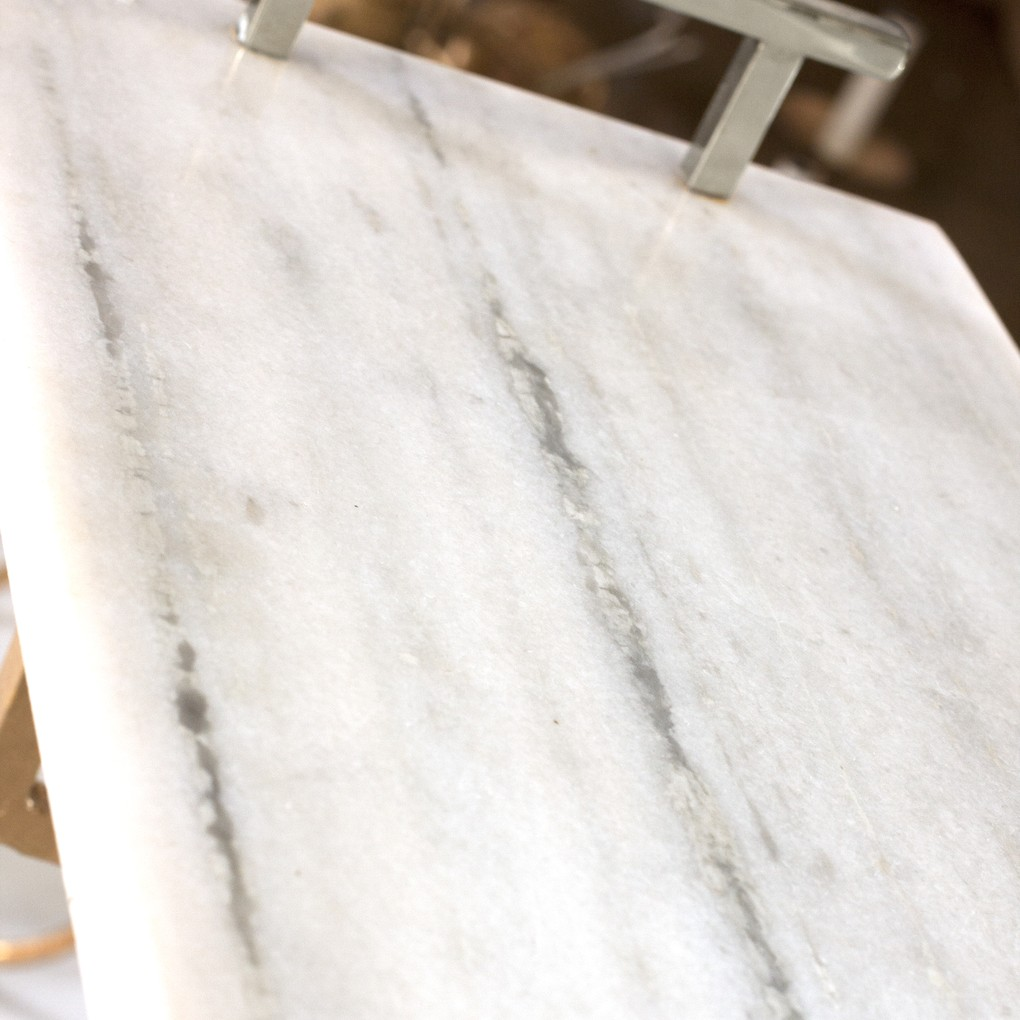 White Marble Tray with Nickel Handles | Worlds Away