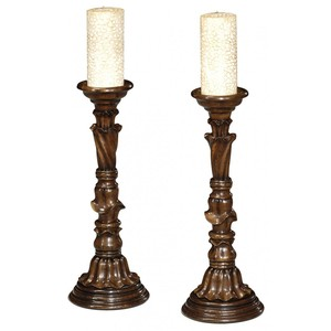 Pair Of Rococo Style Walnut Candlesticks | Jonathan Charles