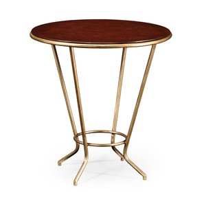 Leather Top and Gilded Iron Side Table