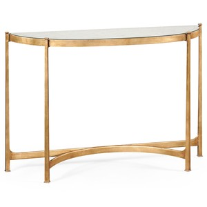 Gilded Iron Demilune Console Table   Jonathan Charles