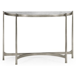 Silver Iron Demilune Console Table   Jonathan Charles
