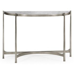 Silver Iron Demilune Console Table