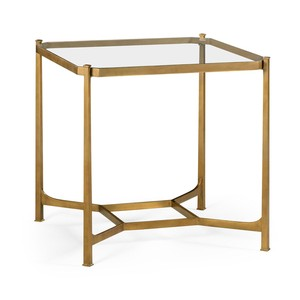 Patinated Gilded Finish Square Side Table