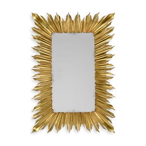 Gilded Rectangular Sunburst Mirror | Jonathan Charles