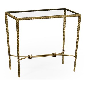 Hammered Brass Rectangular Side Table
