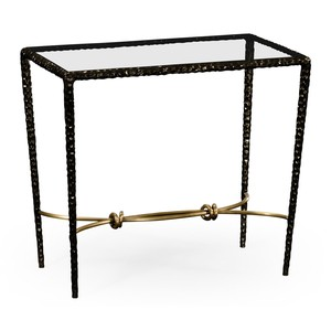 Hammered Iron Rectangular Side Table