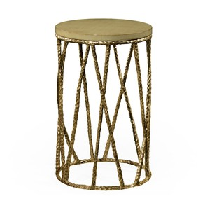 Brass Hammered Wine Table with Celadon Top