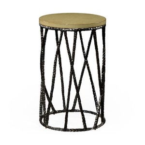 Bronze Hammered Wine Table with Celadon Top | Jonathan Charles