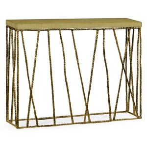 Brass Hammered Console with Celadon Top | Jonathan Charles