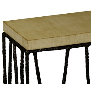 Bronze Hammered Console with Celadon Top   Jonathan Charles
