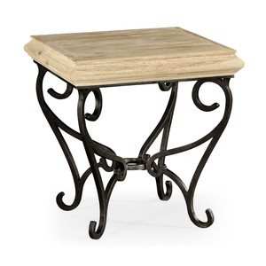 Limed Wood Square Side Table