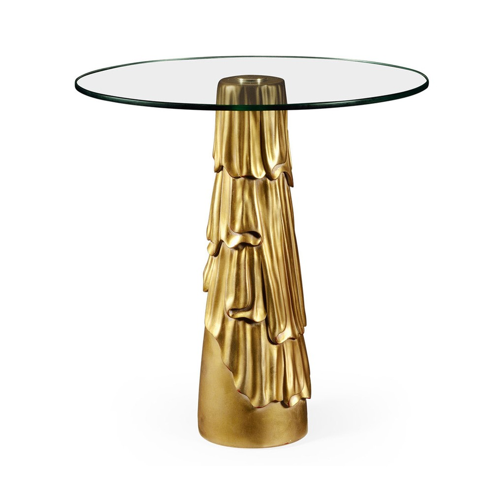 Gilded Antique Gold Leaf Round Drink Table | Jonathan Charles