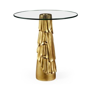 Gilded Antique Gold Leaf Round Drink Table