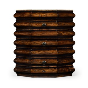 Octagan Rustic Walnut End Table | Jonathan Charles