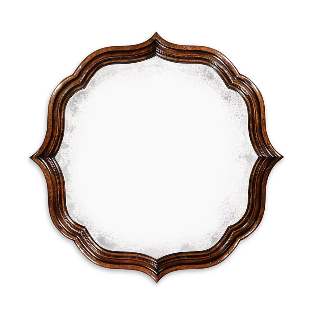 Rustic Walnut Round Antique Mirror | Jonathan Charles