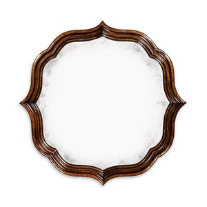 Rustic Walnut Round Antique Mirror | Jonathan Charles
