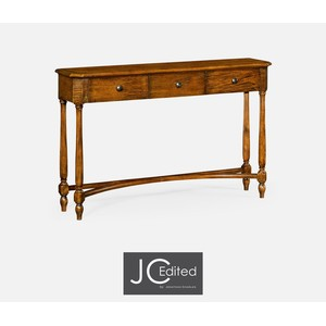 Country Walnut Three Drawer Large Console Table | Jonathan Charles