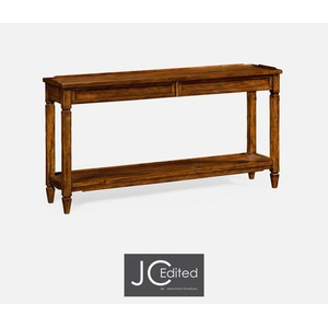 Console Table with Drawers In Rustic Walnut | Jonathan Charles