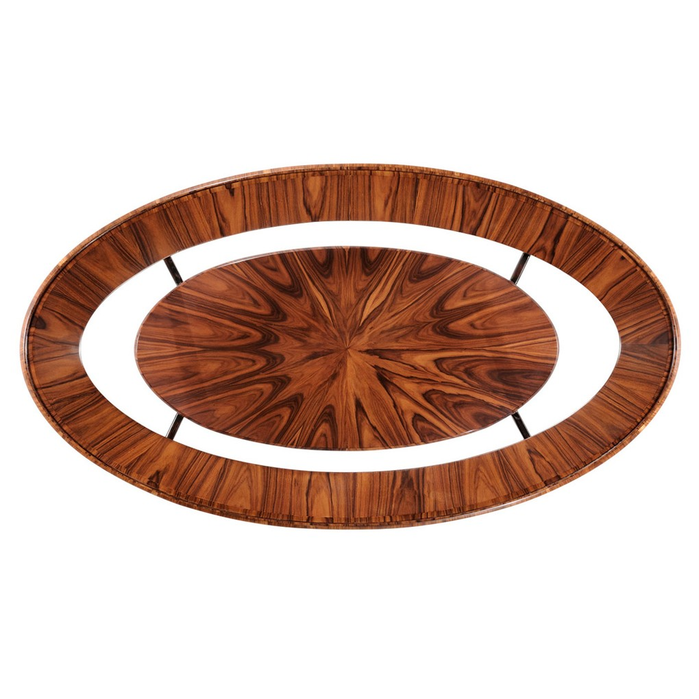 Art Deco Oval Coffee Table with Glass Top | Jonathan Charles