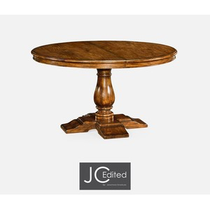 Circular Extending Dining Table In Country Walnut