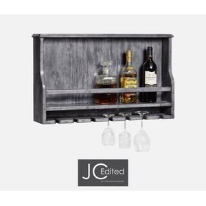 Wall Hanging Wine Rack in Antique Dark Grey | Jonathan Charles
