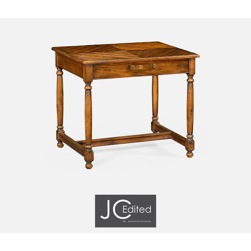 Country Walnut Parquet Rectangular Side Table | Jonathan Charles
