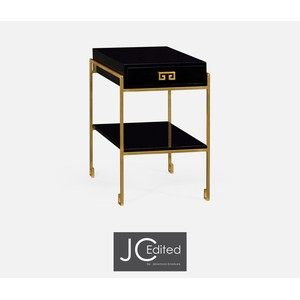 Gilded Iron End Table with Smoky Black Drawer | Jonathan Charles