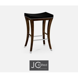 Counter Stool In American Walnut and Black Lacquer | Jonathan Charles