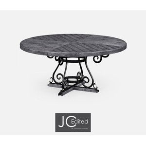 Antique Dark Grey and Wrought Iron Dining Table | Jonathan Charles