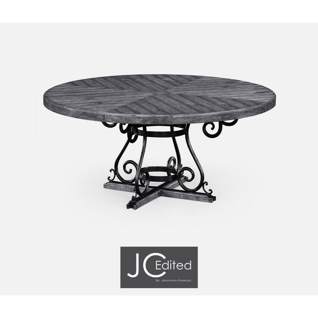 Antique Dark Grey & Wrought Iron Dining Table | Jonathan Charles