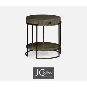 Light Bronze Iron Round Side Table in Chestnut | Jonathan Charles