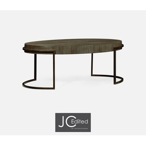 Light Bronze Iron Oval Coffee Table In Chestnut